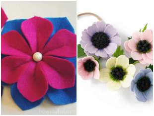 Flor de feltro para tiara com moldes