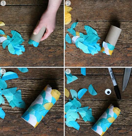 Artesanato com reciclagem de rolinhos de papelão