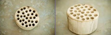 Decoração com bloco de madeira fácil de fazer