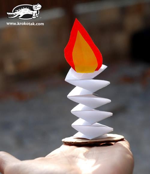 Decoração para mesa com fogueirinhas de papel