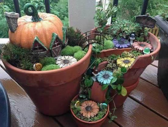 Jarros decorados para enfeitar a casa ou jardim