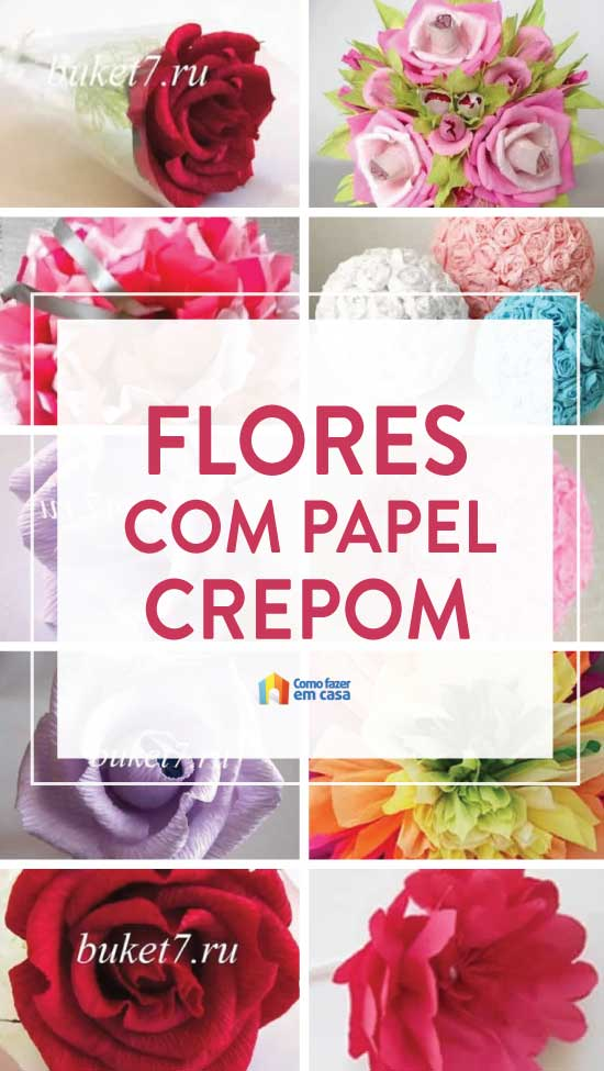 Flor de papel crepom para enfeites e lembrancinhas