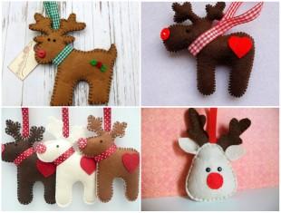 Lindas Renas de Feltro para fazer Enfeites de Natal com Moldes