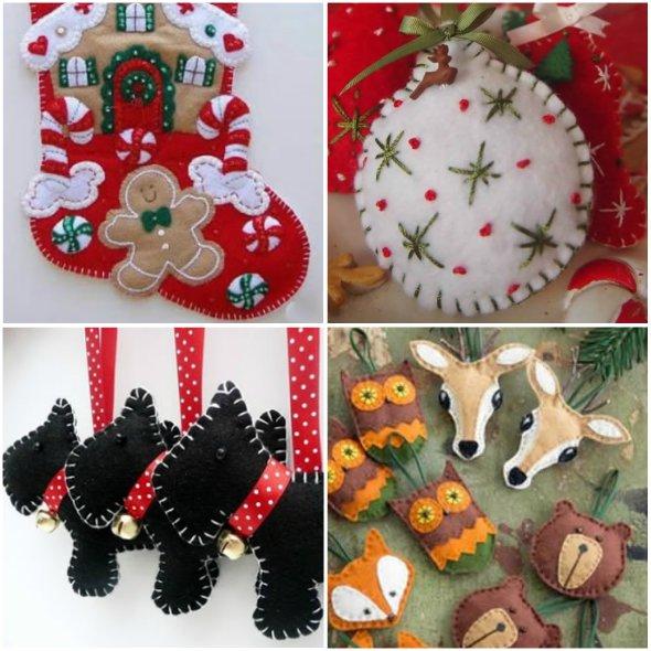 Enfeites de Feltro Fáceis de Fazer para o Natal com Moldes