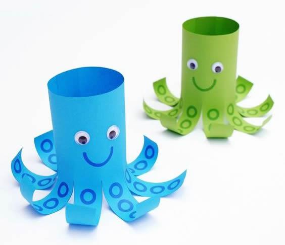 Artesanato com Papel e Rolo de Papelão para fazer com Crianças