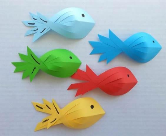 Peixinhos de Papel para Decoração passo a passo