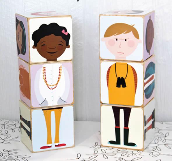 Brinquedo com Blocos de Madeira para Crianças - Moldes para Imprimir