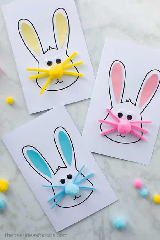 Cartão de papel para Páscoa com coelhinho