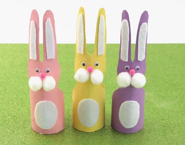 Coelhinhos para Decoração de Páscoa com Rolinhos de Papelão