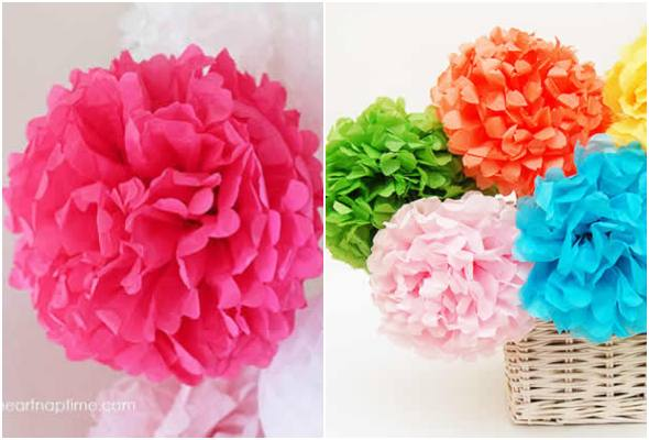 Flores de papel seda para enfeites e lembrancinhas