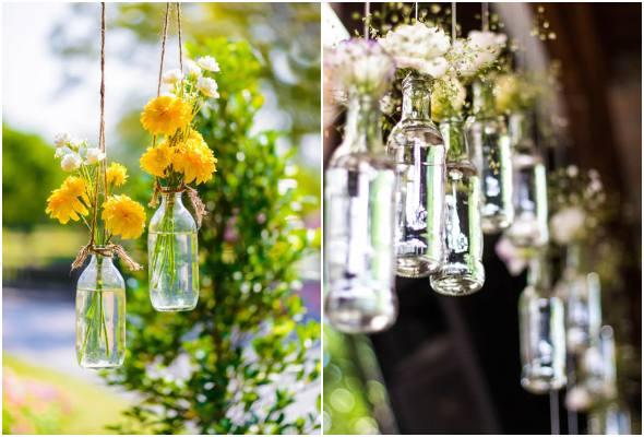 Decoração com vidrinhos para casamentos