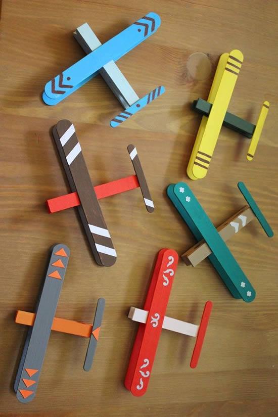 Aviões com palitos de picolé