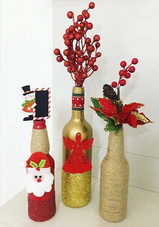 Ideia com garrafas para o Natal