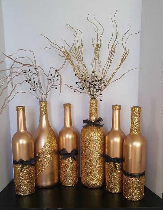 Decoração com garrafas para o Natal