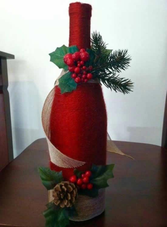 Garrafa decorada para Natal