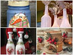 Potes e Garrafas Decoradas para Natal