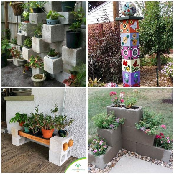 jardins com blocos de cocnreto