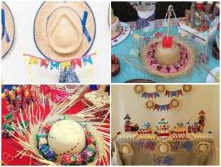 Decoração com Chapéu de Palha para Festa Junina