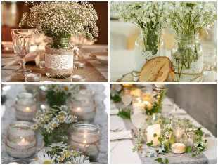 Potes de vidro para decoração de mesa de casamentos