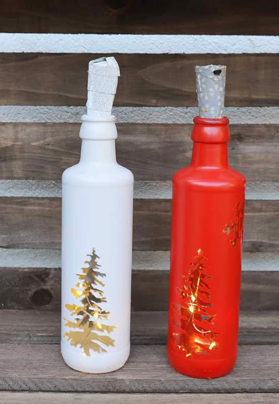 Decoração de Natal com garrafas