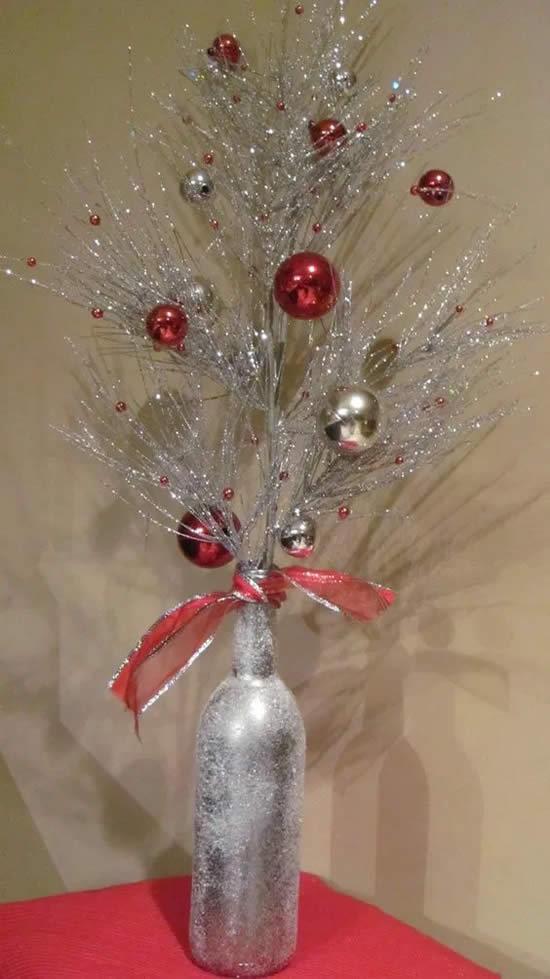 Garrafa decorada para o Natal