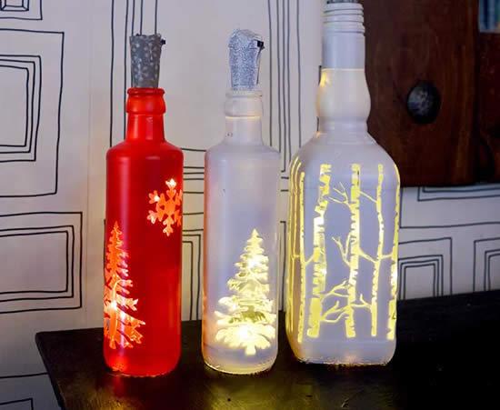 Lindas garrafinhas decoradas para o Natal