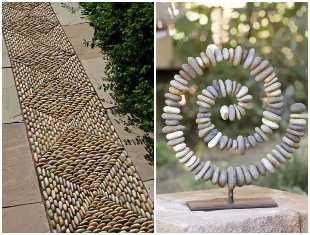Decoração criativa com seixos para jardim
