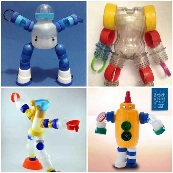 robôs com garrafa pet