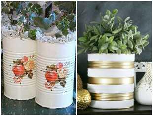 Vasos decorativos com latas para inspiração