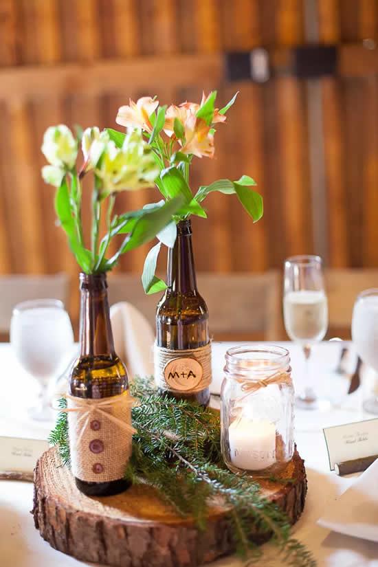 Lindas garrafas para decoração de casamento