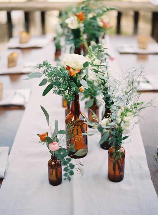 Garrafas de vidro para decoração de casamento