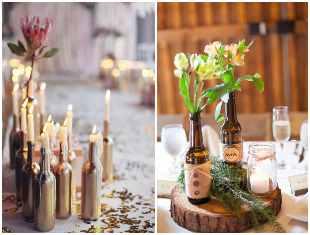 Enfeites para mesa de casamento com garrafas