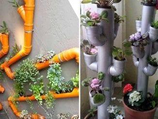 Hortas verticais com canos
