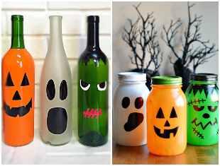 Decoração para Halloween com garrafas e potes