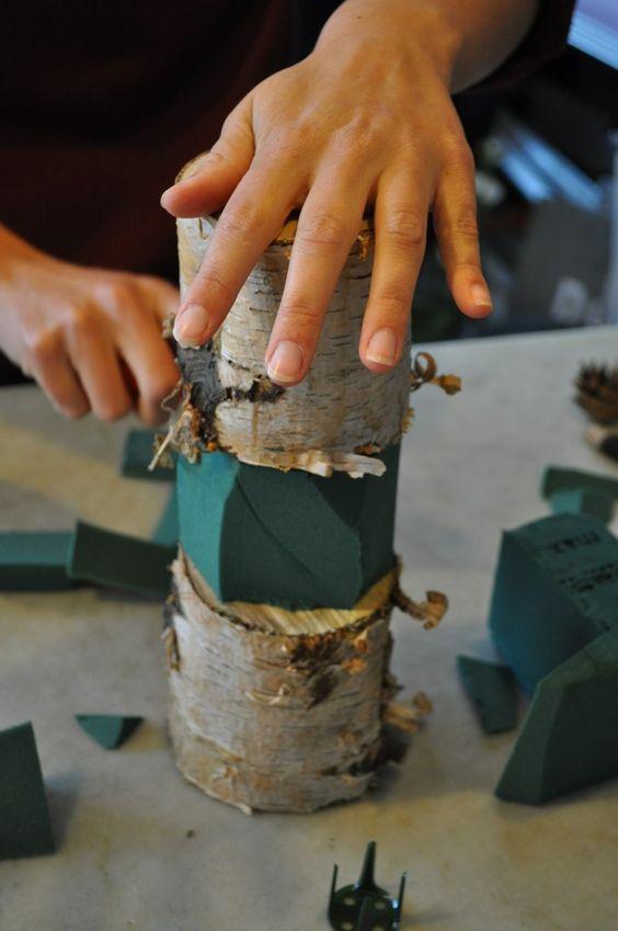 arranjos em troncos para o natal