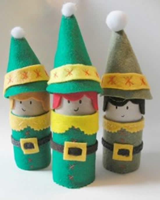 Artesanatos natalinos com rolos de papel higiênico