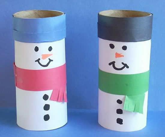 Artesanato de Natal com rolo de papelão