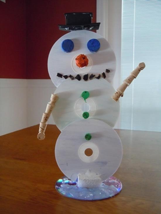 Boneco de neve com CDs