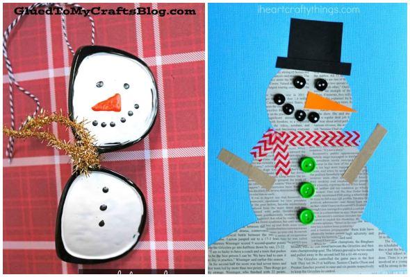 Bonecos de neve com reciclagem
