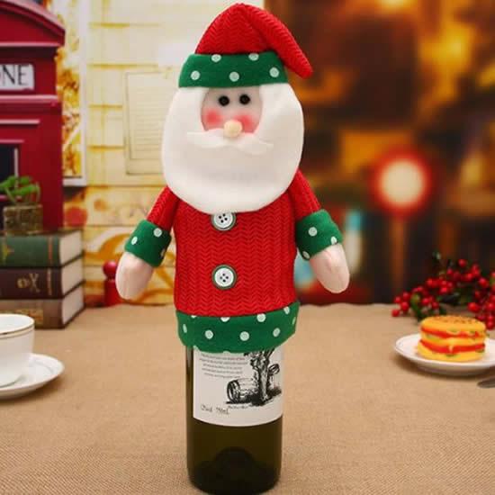 Papai Noel de tecido para decoração de garrafa