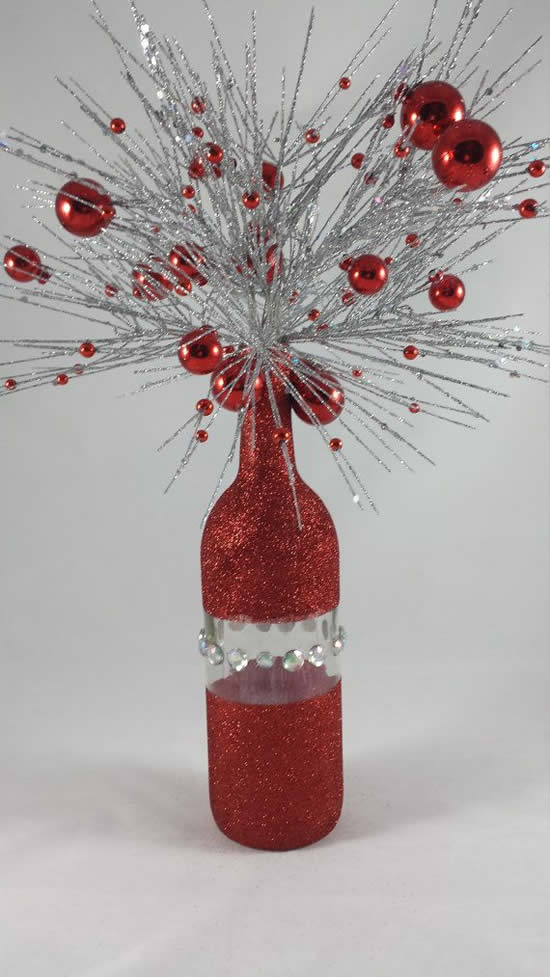 Decoração de Natal com garrafa de vidro