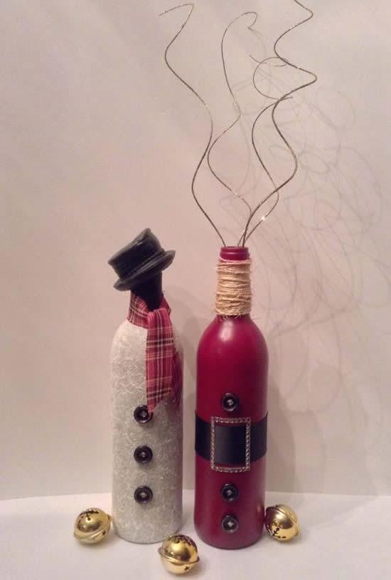 Garrafas decoradas de Natal