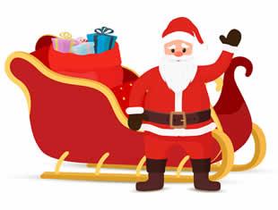 Papai Noel com trenó para colorir