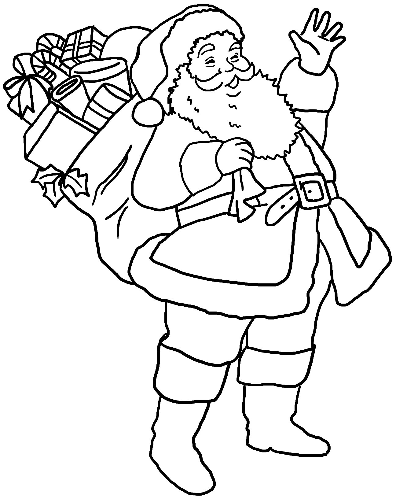 Desenho fofo do Papai Noel para pintar