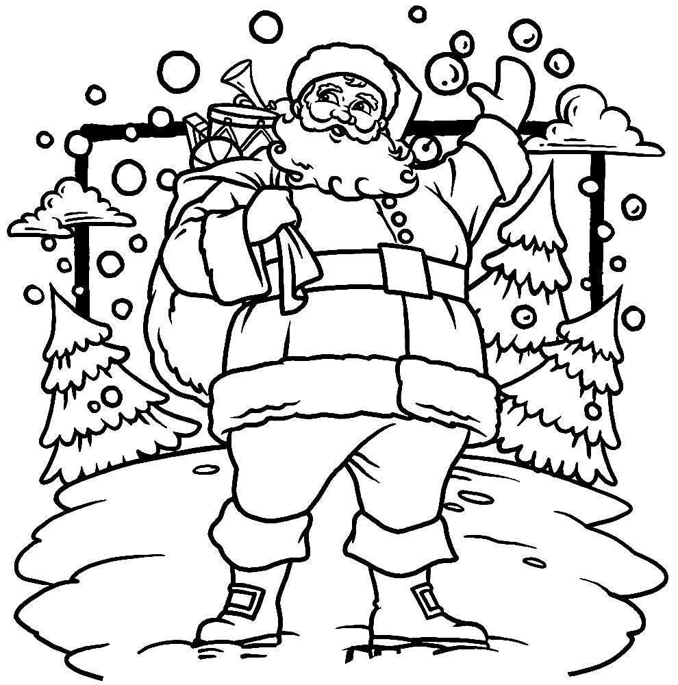 Desenho lindo do Papai Noel para colorir
