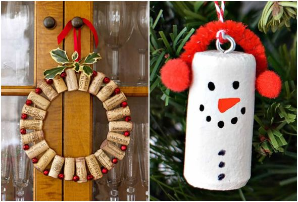 Enfeites com rolhas para decoração de Natal