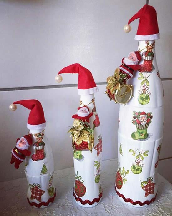 Garrafas decoradas para enfeites natalinos