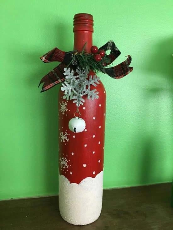 Decoração linda para o Natal com garrafas