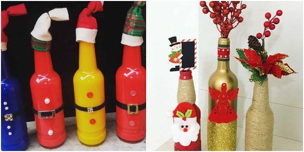 Enfeites de Natal com garrafas decoradas