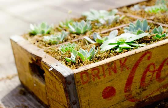 Lindas ideias com mini jardins em caixotes